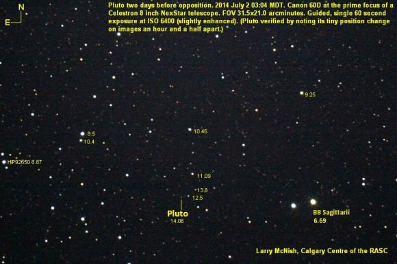 Pluto two days before opposition on July 2, 2014.  Credit and copyright: Larry McNish, Calgary Centre of the Royal Astronomical Society of Canada.