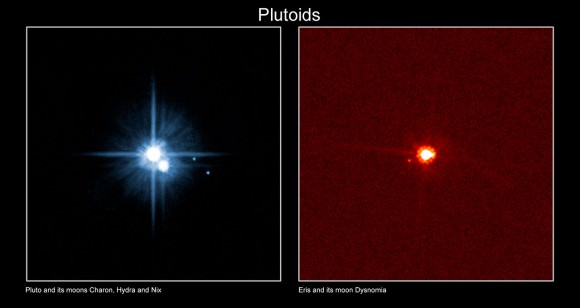 Pluto and moons Charon, Hydra and Nix (left) compared to the dwarf planet Eris and its moon Dysmonia (right). This picture was taken before Kerberos and Styx were discovered in 2011 and 2012, respectively. Credit: International Astronomical Union