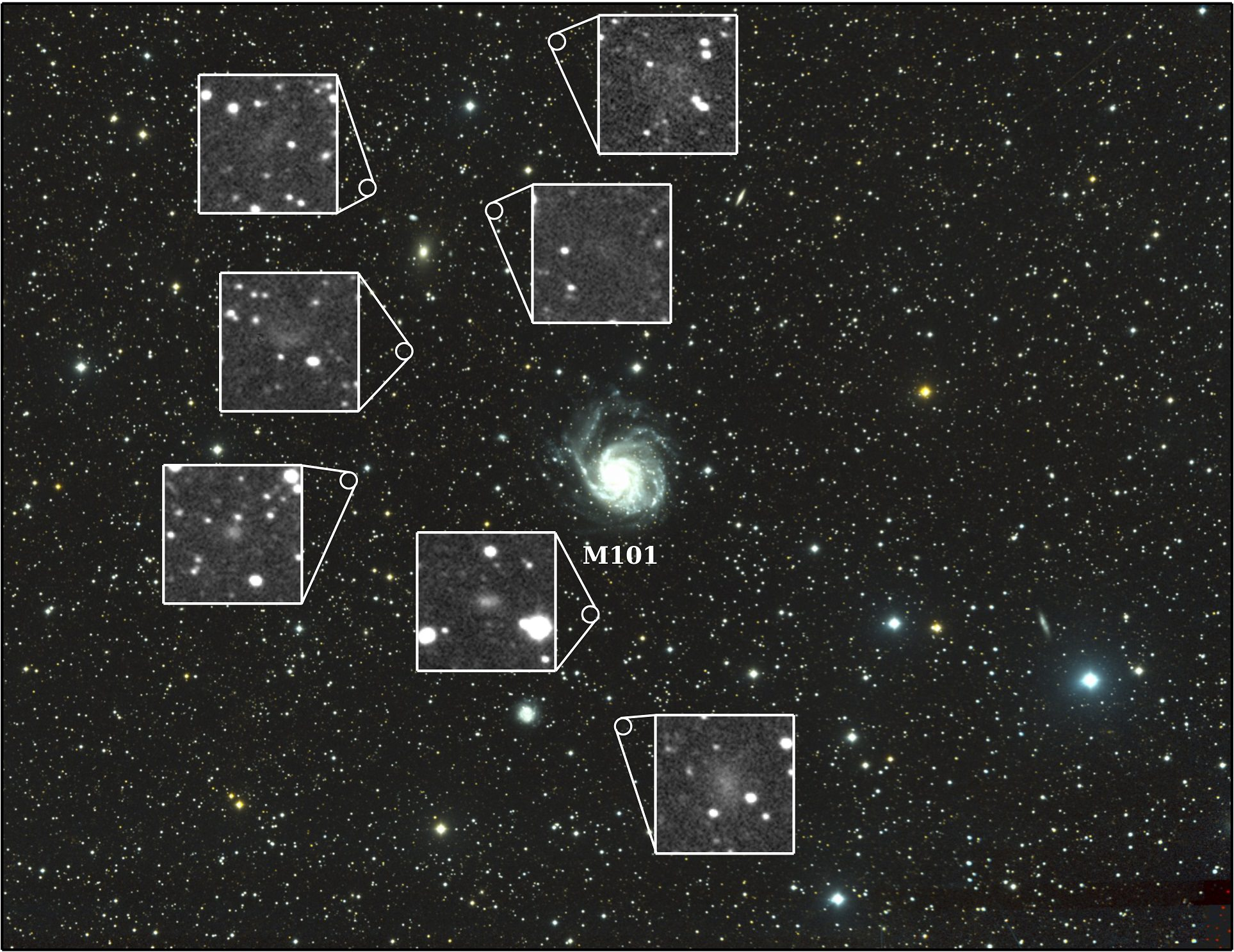 Seven new dwarf galaxies shine in the field of view surrounding M101, the Pinwheel Galaxy. Credit: Yale University