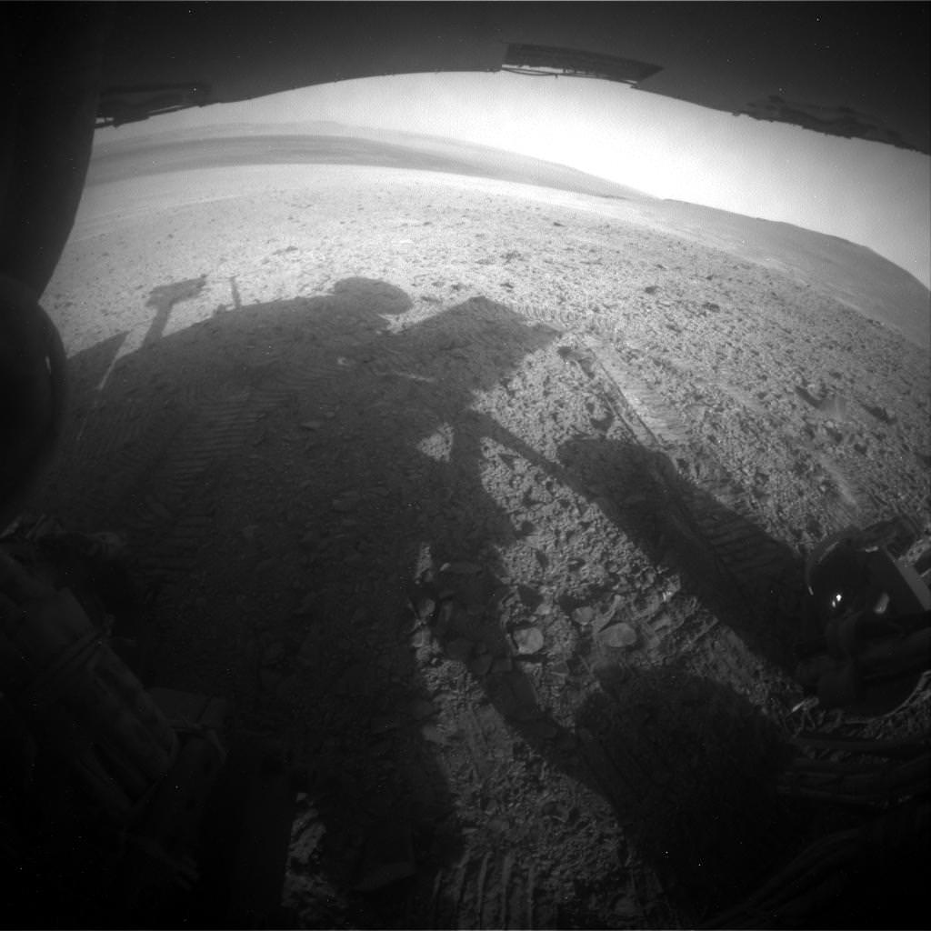 The shadow of the Opportunity rover lies on the Martian surface in this picture taken on Sol 3752, on Aug. 13. The rover is on the west rim of Endeavour Crater, near the Martian equator. Its landing site was Meridani Planum. Credit: NASA/JPL-Caltech/Cornell/Arizona State Univ.
