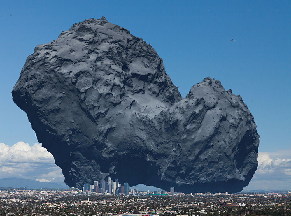 Illustration of Comet 67P/C-G brought down to Earth in the city of Los Angeles, Calif. Compare to the same image (below) as viewed in space. Credit: ESA and anosmicovni