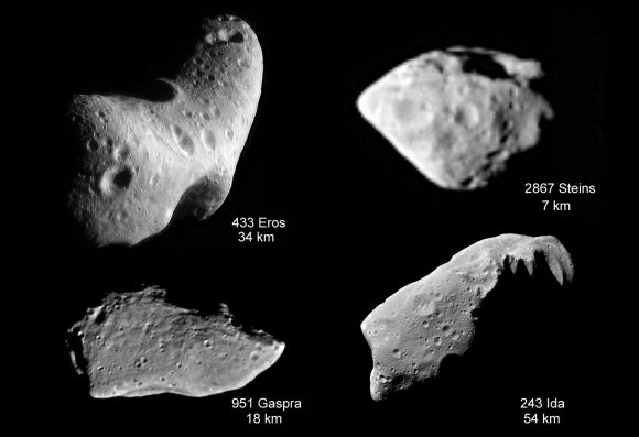Asteroids we've seen up close show cratered surfaces similar to yet different from much of the cratering on comets. Credit: NASA