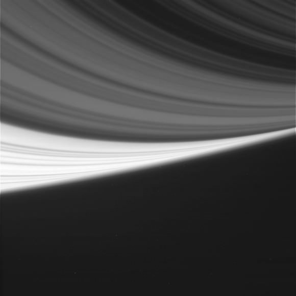 Different shades shine in this raw image of Saturn's rings taken by the Cassini spacecraft taken Aug. 19, 2014. Credit: NASA/JPL/Space Science Institute