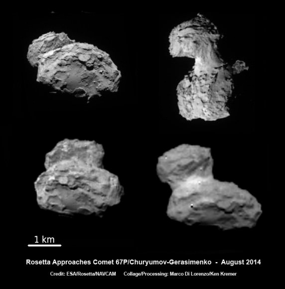 ESA's Rosetta spacecraft on final approach to Comet 67P/Churyumov-Gerasimenko in early August 2014. This collage of navcam imagery from Rosetta was taken on Aug. 1, 2, 3 and 4 from distances of 1026 km, 500 km, 300 km and 234 km. Not to scale.  Credit: ESA/Rosetta/NAVCAM - Collage/Processing: Marco Di Lorenzo/Ken Kremer- kenkremer.com