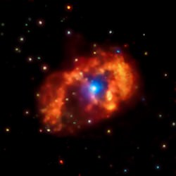 Eta Carinae shines brightly in X-rays in this image from the Chandra X-Ray Observatory.