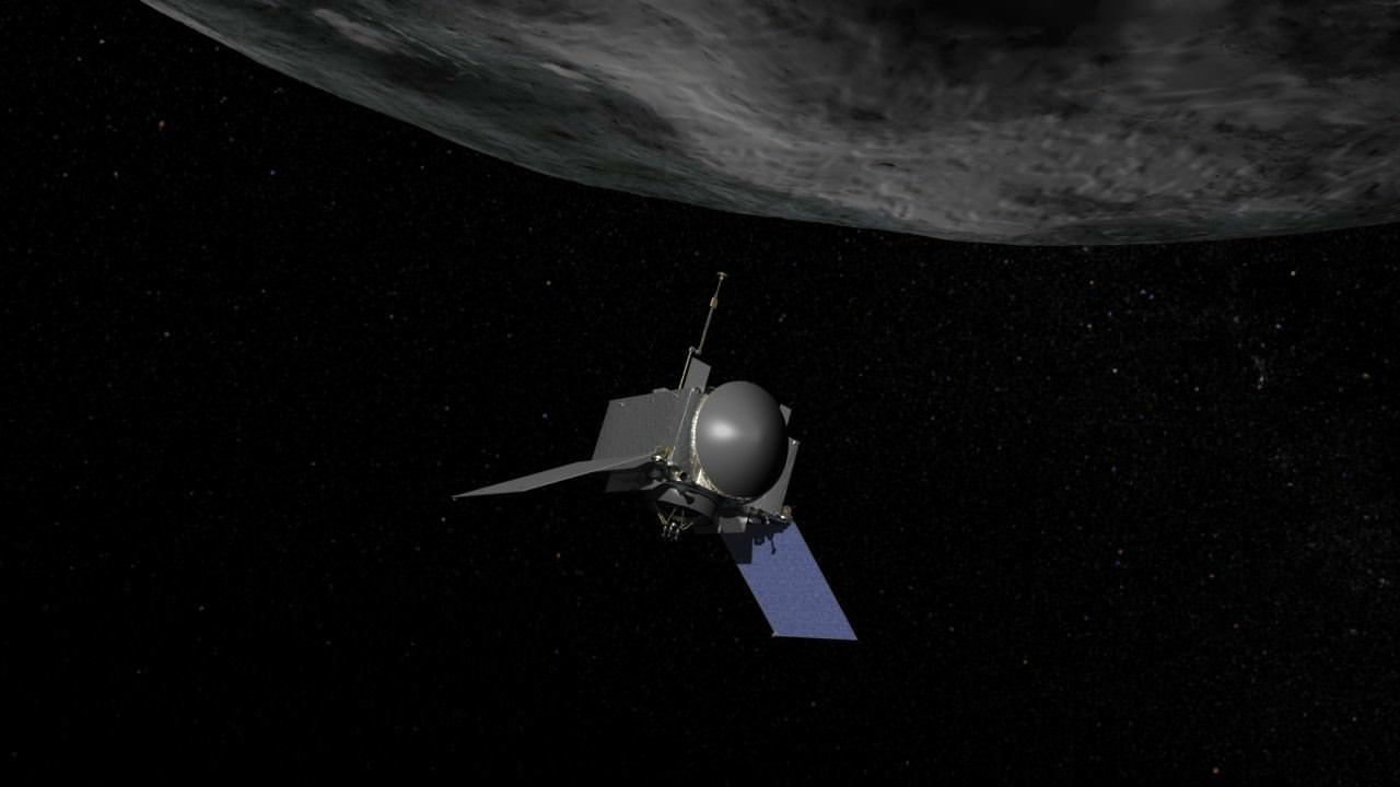 Artist's concept of OSIRIS-REx at Bennu. (Credit: NASA/GSFC)