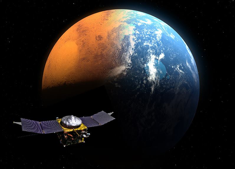 NASA's MAVEN spacecraft is depicted in orbit around an artistic rendition of planet Mars, which is shown in transition from its ancient, water-covered past, to the cold, dry, dusty world that it has become today.  Credit: NASA