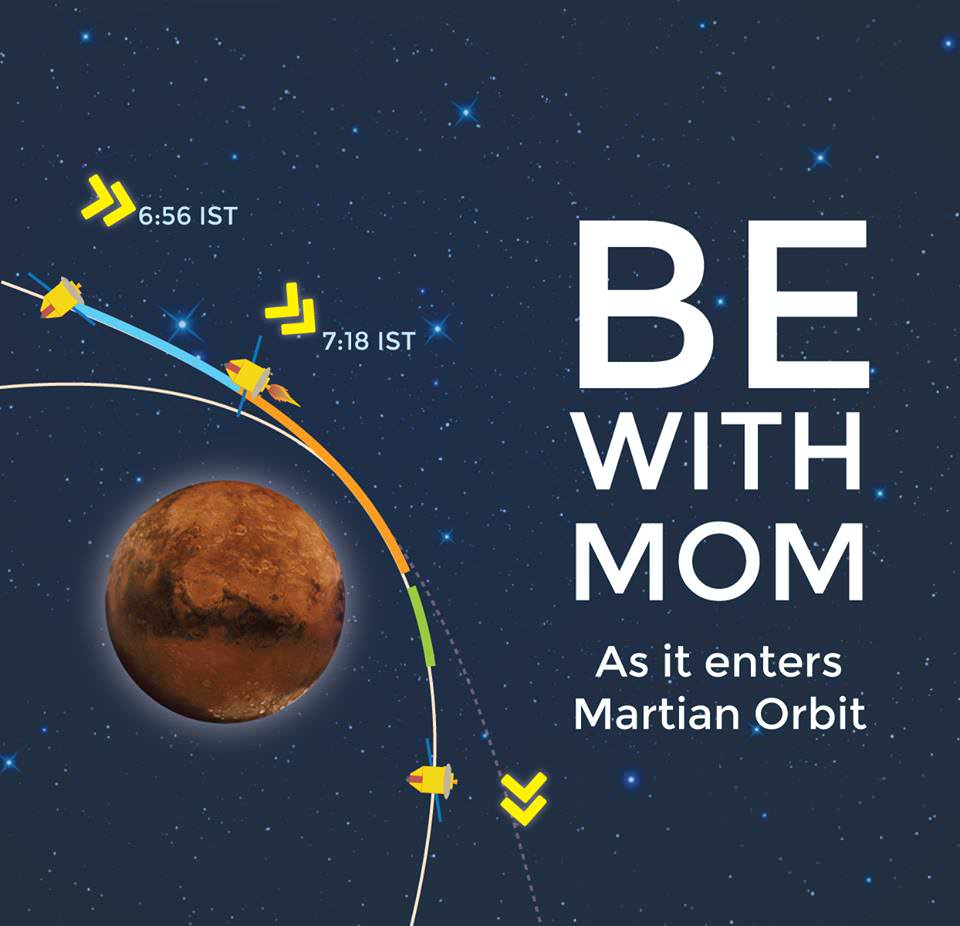 The Mars Orbiter Mission (MOM) is India's first mission to the Red Planet. The historic arrival on Sept. 23/24 will be webcast live by ISRO. Details below. Credit: ISRO