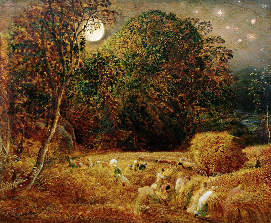 """The Harvest Moon"", a circa 1833 oil painting by Samuel Palmer. Closely spaced moonrises meant extra light to bring in the crops in the days before electric lighting."