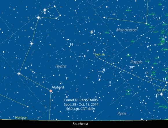 Skywatchers can find C/2012 K1 PanSTARRS in the morning just in Hydra-Puppis just before dawn. The map shows its location daily with stars to magnitude 8.5. The numbers next to some stars are standard Flamsteed atllas catalog numbers. Source: Chris Marriott's SkyMap