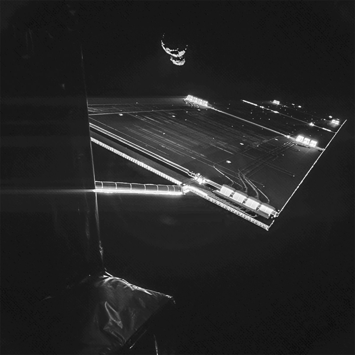Image of Rosetta's solar array and comet 67P/C-G taken by Philae on Sept. 7, 2014 (ESA/Rosetta/Philae/CIVA)
