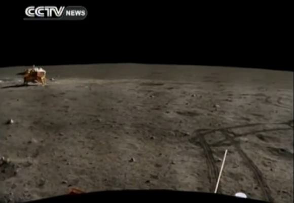A still from CCTV showing part of a panorama from the Yutu rover. Credit: CCTV/YouTube