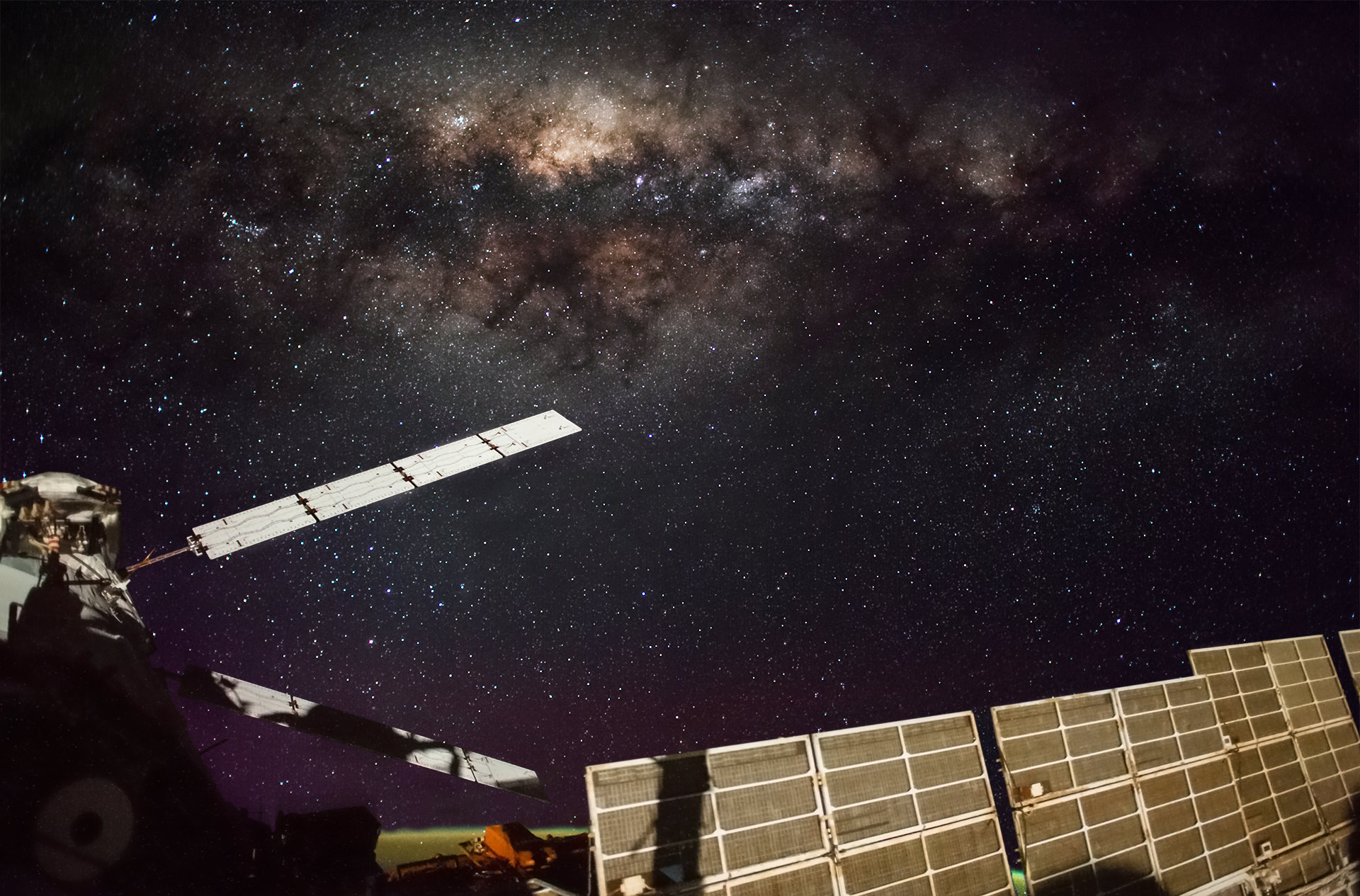 The Milky Way above the International Space Station's solar panels. Credit: NASA/NASA Crew Earth Observations