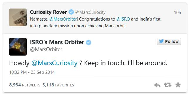 Twitter conversation between the newly arrived Mars Orbiter Mission from ISRO and NASA's Curiosity Rover on Mars.