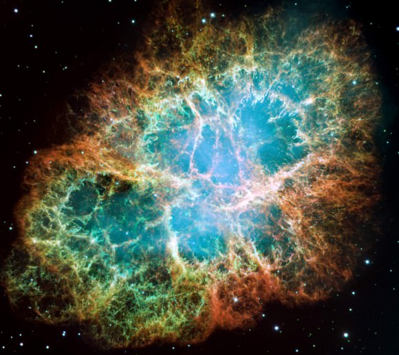 Our eyes would never see the Crab Nebula or Messier 1 as this Hubble image shows it. Image credit: NASA, ESA, J. Hester and A. Loll (Arizona State University)