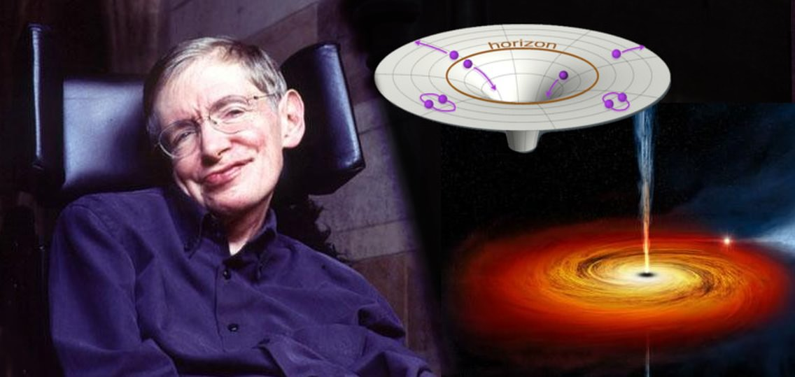 Dr. Stephen Hawking of Cambridge University alongside illustrations of a black hole and an event horizon with Hawking Radiation. He continues to engage his grey matter to uncover the secrets of the Universe while others attempt to confirm his existing theories. (Photo: BBC, Illus.: T.Reyes)