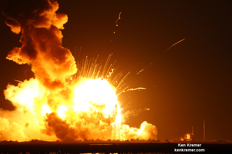 Orbital Sciences Antares rocket explodes violently and is consumed in a gigantic aerial fireball seconds after blastoff from NASA's Wallops Flight Facility, VA, on Oct. 28, 2014 at 6:22 p.m.  Credit: Ken Kremer – kenkremer.com