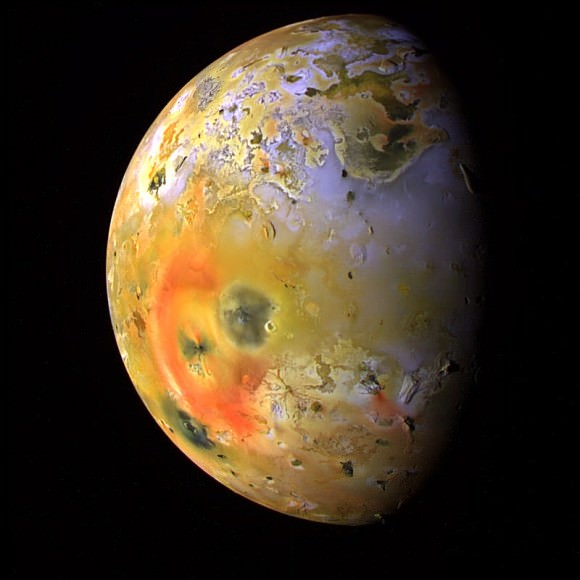 Jupiter's volcanic moon Io , imaged by the Galileo spacecraft in 1997. Credit: NASA/JPL/University of Arizona