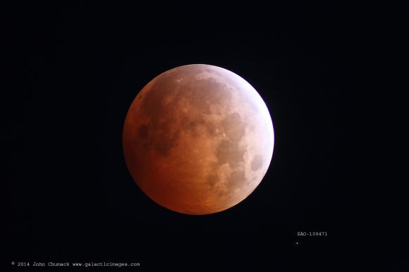 Lunar Eclipse on 10-08-2014 Huffman Dam, Dayton, Ohio Canon 6D, 80mm refractor,2x Barlow (1200mm) ISO 6400,  2 sec exposure. Credit and copyright: John Chumack/Galactic Images.