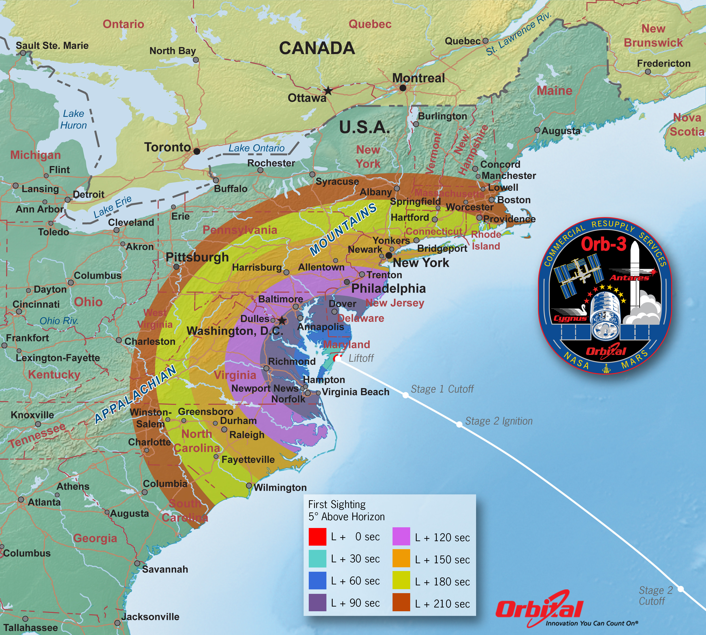 Orbital 3 Launch from NASA Wallops Island, VA on Oct. 27, 2014- Time of First Sighting Map.  This map shows the rough time at which you can first expect to see Antares after it is launched on Oct. 27, 2014. It represents the time at which the rocket will reach 5 degrees above the horizon and varies depending on your location . We have selected 5 degrees as it is unlikely that you'll be able to view the rocket when it is below 5 degrees due to buildings, vegetation, and other terrain features. However, depending on your local conditions the actual time you see the rocket may be earlier or later. As an example, using this map when observing from Washington, DC shows that Antares will reach 5 degrees above the horizon approximately 117 seconds after launch (L + 117 sec).   Credit: Orbital Sciences