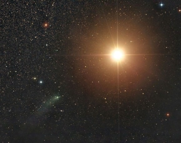 Comet Siding Spring approaches within a degree of Mars at 5:07 a.m. CDT today October 19. Closest approach happens around 1:28 p.m. CDT (18:28 UT) when the comet will brush about 83,240 miles from the planet's surface. Image copyright SEN / Damian Peach