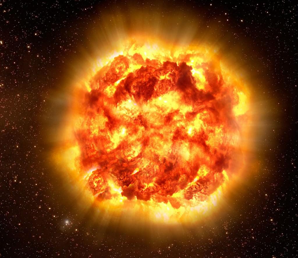 L'impressione dell'artista di un'esplosione di supernova di tipo II che comporta la distruzione di una gigantesca stella supergigante.  Un giorno Betelgeuse esploderà, ma siamo troppo lontani per sentire alcun effetto.  Credito: ESO