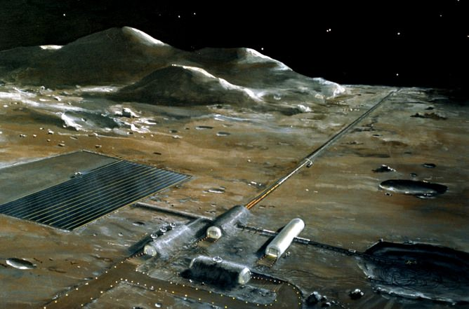 A lunar base, as imagined by NASA in the 1970s. Image Credit: NASA