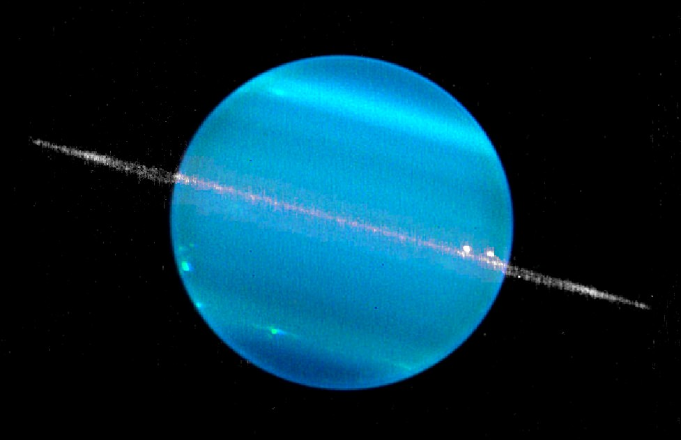 A composite image of Uranus in two infrared bands, showing the planet and its ring system. Picture taken by the Keck II telescope and released in 2007. Credit: W. M. Keck Observatory (Marcos van Dam)