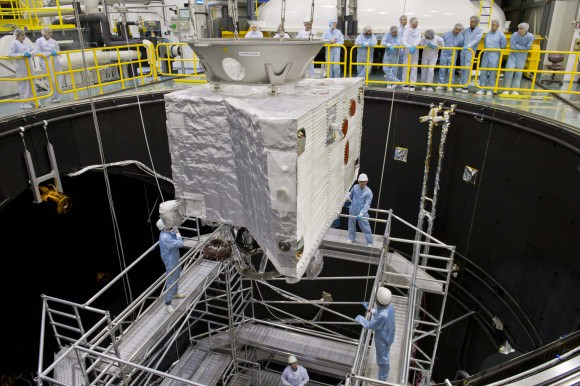 On Oct. 30, 2014, the Mercury Planetary Orbiter (part of the BepiColombo mission) was moved into the European Space Agency's space simulator for testing ahead of the expected 2016 launch. Credit: ESA–A. Le'Floch