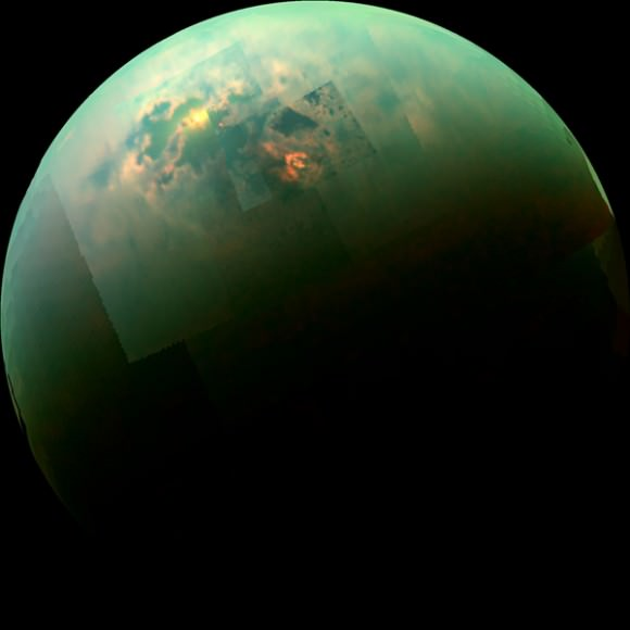 In this near-infrared global mosaic of Titan, sunglint and the moon's polar seas are visible above the shadow. Credit: NASA/JPL-Caltech/University of Arizona/University of Idaho