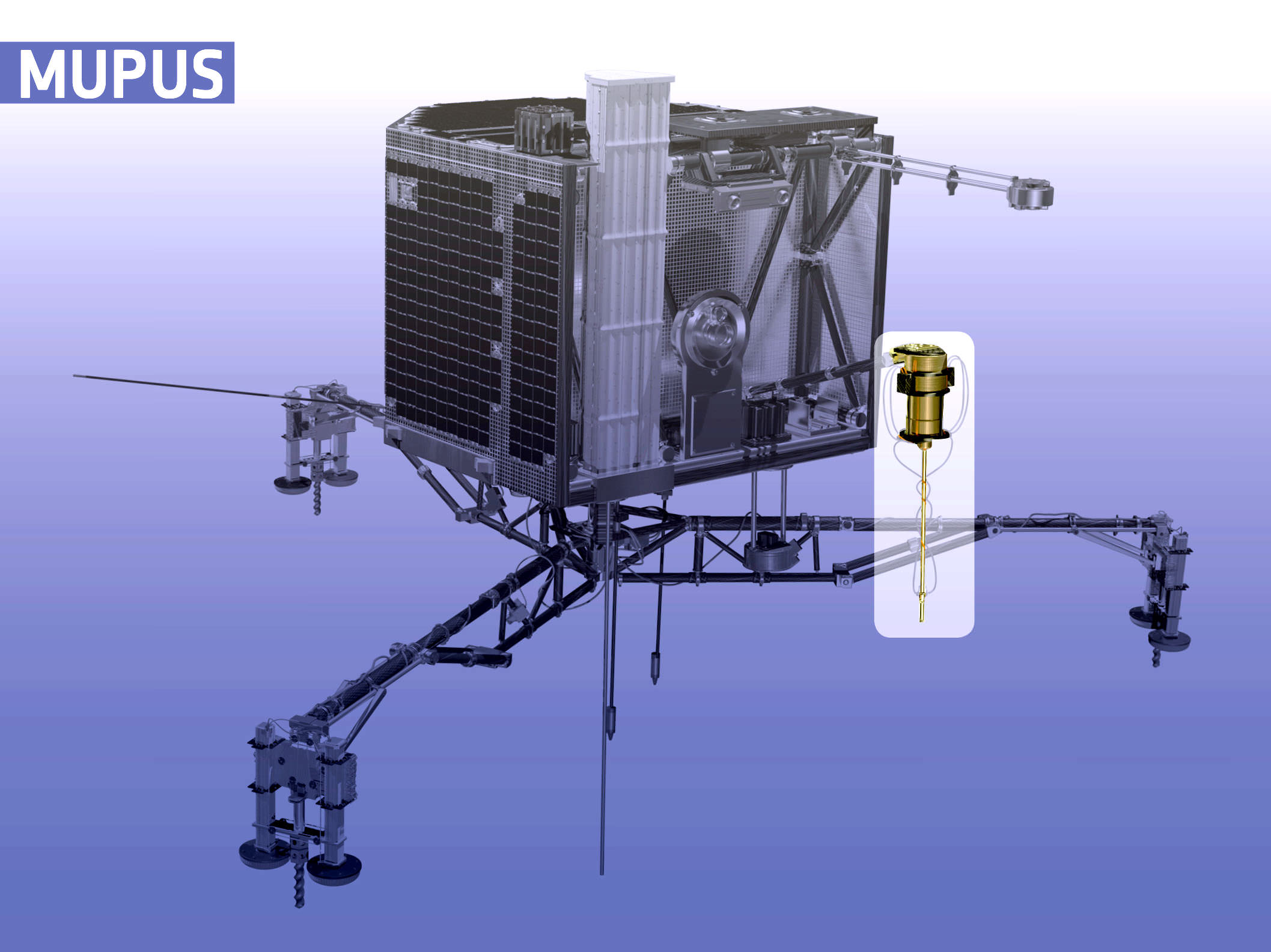 Philae's MUPUS probe took temperature measurements and hammered into the surface at the landing site to discover the lander alighted on some very hard ice. Credit: ESA