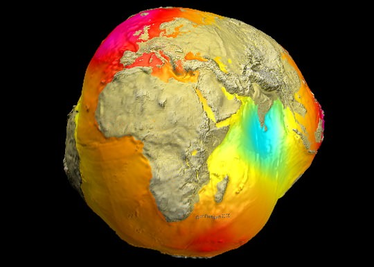 The Geoid 2005 model, which was based on data of two satellites (CHAMP and GRACE) plus surface data. Credit: GFZ