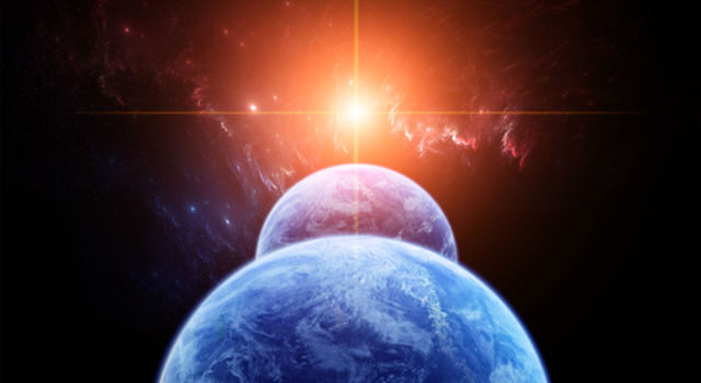 Artist's conception of binary Earths. Credit: NASA