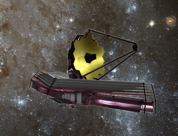 The James Webb Space Telescope, scheduled for launch in 2018 may be the first to be capable of detecting biomarker gasses in the atmospheres of extrasolar planets.  When an exoplanet passes between its star and Earth, an event called a transit, light that has passed through the planet's atmosphere can be detected from a vantage point near Earth.  When light passes through the exoplanet's atmosphere, some wavelengths are absorbed and others transmitted.  By analyzing the transmitted light spectrum, astronomers can learn the composition of the planet's atmosphere.  Astrobiologists hope to find biomarker gasses indicating the metabolic waste products of life.  The oxygen in Earth's atmosphere is a waste product of photosynthesis in plants and bacteria.  The Webb telescope may be capable of conducting this test for planets larger than Earth (super-earths) transiting small stars.  Space telescopes capable of conducting such research on a larger scale have been delayed by budget cuts. Credit: NASA
