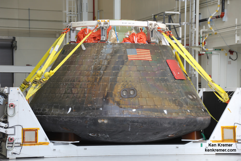 Homecoming view of NASA's first Orion spacecraft after returning to NASA's Kennedy Space Center in Florida on Dec. 19, 2014 after successful blastoff on Dec. 5, 2014.  Credit: Ken Kremer - kenkremer.com