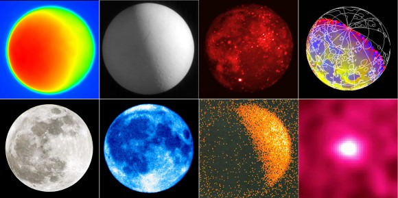 We see the Moon differently depending upon the wavelength in which we view it. Top row from left: