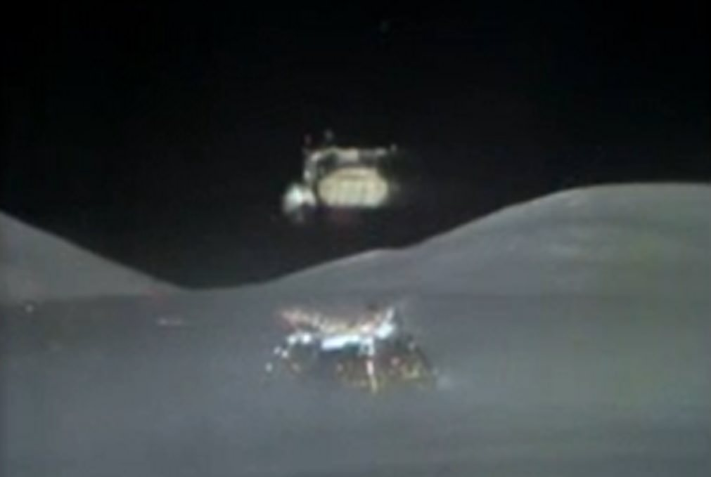 Still of the Apollo 17 spacecraft leaving the moon on Dec. 14, 1972. Credit: NASA/YouTube (screenshot)