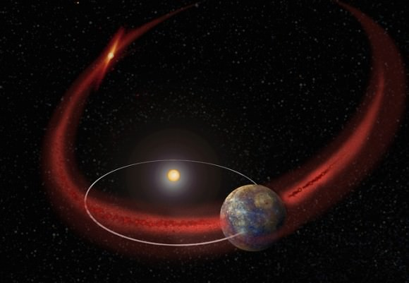 Artist's concept of the planet Mercury orbiting through a debris trail from Comet Encke that may cause a meteor shower. Credit: NASA's Goddard Space Flight Center