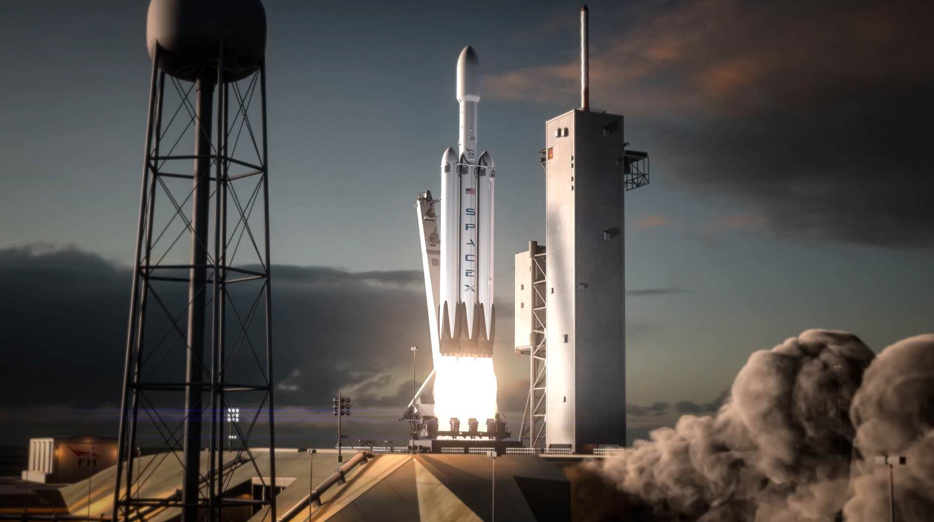 SpaceX Falcon Heavy rocket poised for launch from the Kennedy Space Center in Florida in this updated artists concept. Credit: SpaceX