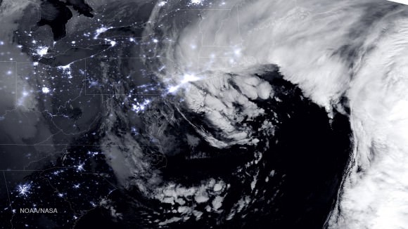 NASA-NOAA Suomi NPP satellite captures blizzard near peak intensity as it moves over New York and Boston regions at 1:45 am EST, Jan. 27, 2015.  This view is a combination of the day-night band and high resolution infrared imagery from Suomi NPP showing the historic blizzard near peak intensity as it moves over the New York through Boston Metropolitan areas at 06:45Z (1:45 a.m. EST) on January 27, 2015.   Credit:   NOAA/NASA