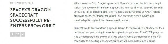 A snapshot from the  SpaceX webpage describing their successful first flight of the Dragon Cargo vessel on Falcon 9. Musk's SpaceX could not have achieved so much so quickly without the knowledge and support of NASA. (Credit: SpaceX)