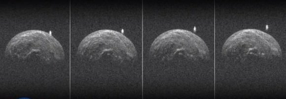 Individual radar images of 2004 BL86 and its moon. The asteroid appears very lumpy, possibly from unresolved crater rims. The moon appears elongated but that may be an artifact and not its true shape. Credit: NASA