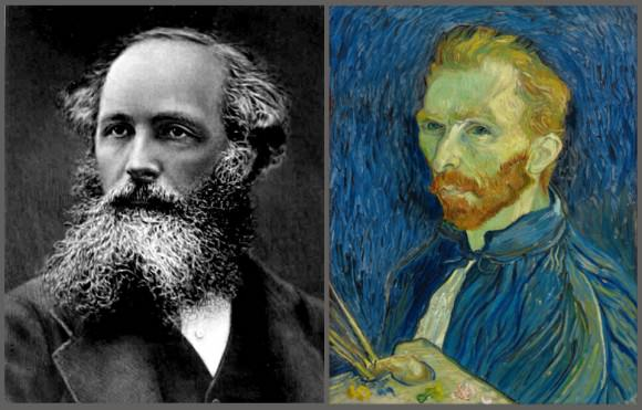 A photograph of James Clerk Maxwell and a self-portrait of Vincent van Gogh. Maxwell's equations and impressionism in the fine arts in the 19th Century sparked an enhanced perception, expression and abstraction of the World and began a trek of knowledge and technology into the modern era. (Credit: National Gallery of Art, Public Domain)