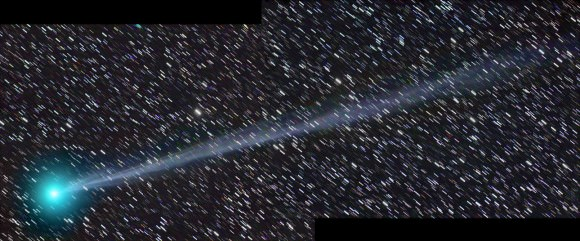 A two-part panorama of Comet 2014 Q2 Lovejoy as seen from Payson, Arizona on December 27, 2014. Credit and copyright: Chris Schur