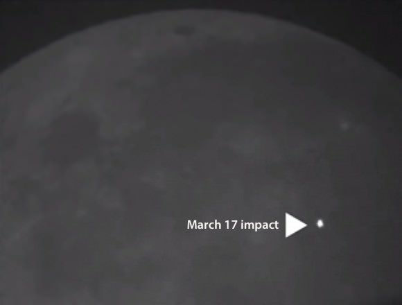 Bright impact flash made by a foot-wide rock that struck the moon on March 17, 2013. The moon was a crescent in the evening sky at the time. The impact occurred in the dark, earthlit part of the moon away from the sun-lit crescent. Click photo to see video about the event. Credit: NASA