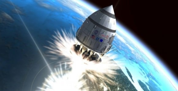The Project Orion concept for a nuclear-powered spacecraft. Credit: