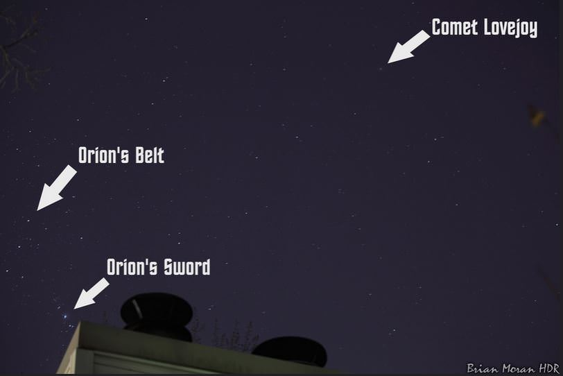 The constellation Orion and Comet Lovejoy (C/2014 Q2), highlighted for easy viewing, as seen from Millersville, Maryland on January 7, 2015. Credit and copyright: Brian Moran.