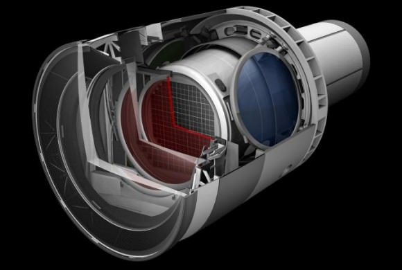 A rendering of the LSST Camera with a cut away to show the inner workings. Credit: LSST.