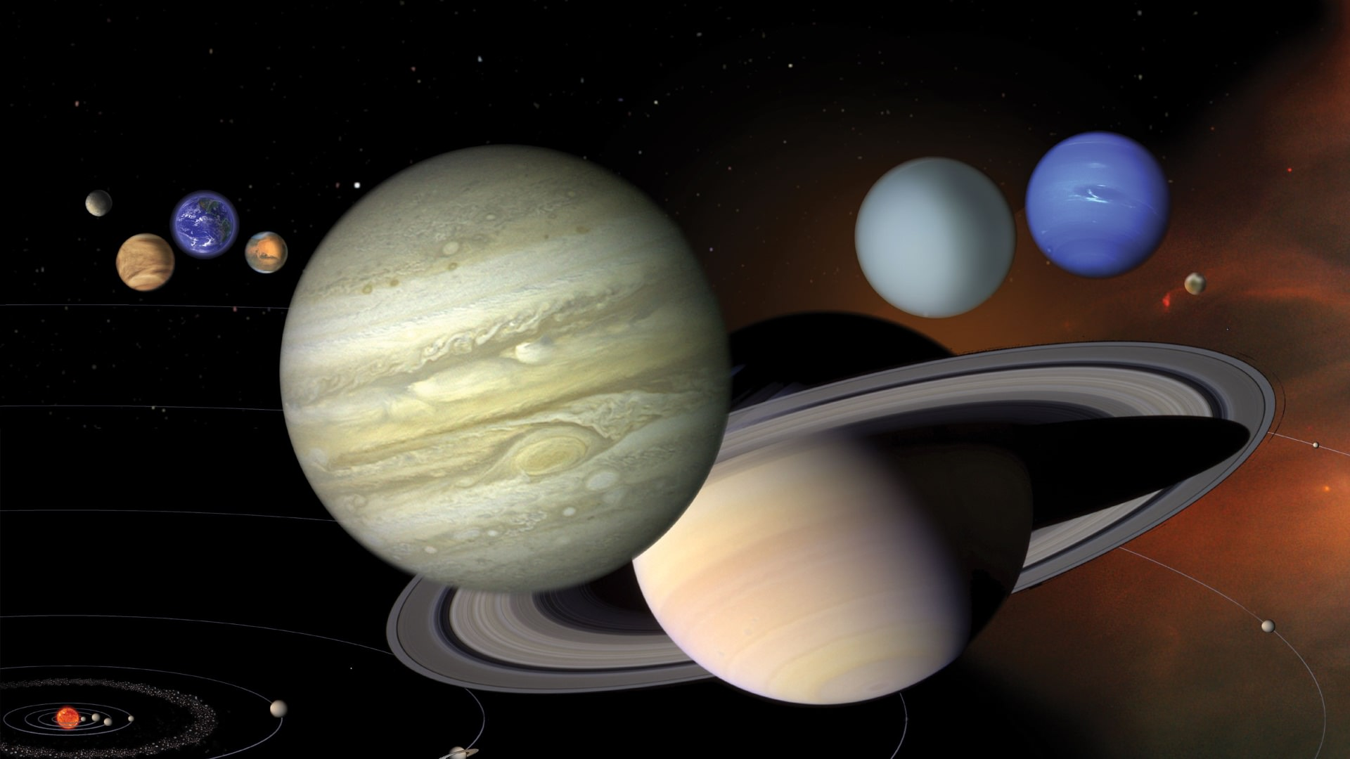 An illustration showing the 8 planets of the Solar System to scale Credit: NASA