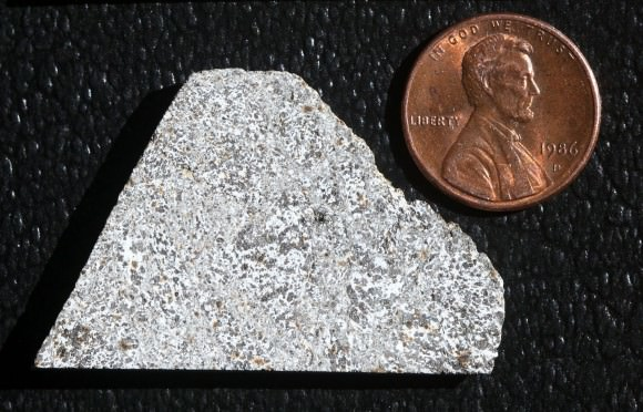 An 8.8g part slice of the eucrite meteorite NWA 3147. Most eucrites are derived from lava flows on the asteroid Vesta. Credit: Bob King